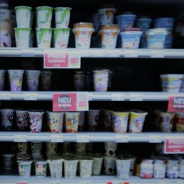 Processed dairy products in a supermarket